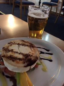Grilled Goat Cheese on Rocket Salad with a half pint Scapa Special, Seaview Inn